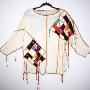 Vintage 1980s Bonnie Boerer Patchwork Sweater